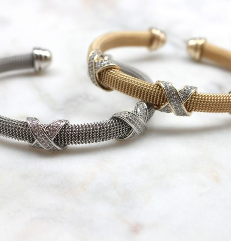 A photo of the Rhinestone X Cuff Bracelet product