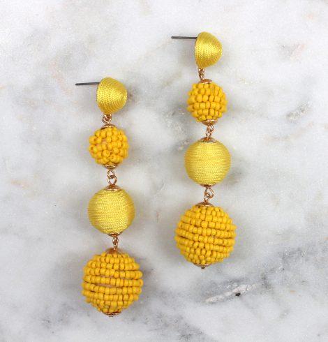 bead_&_thread_ball_earrings_yellow