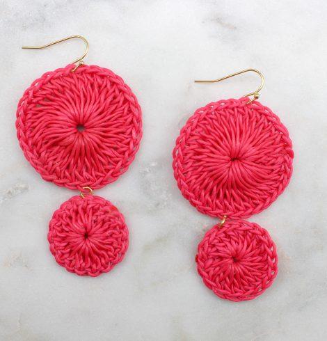 double_circle_crochet_Earrings_hotpink