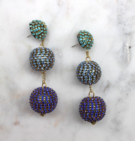 A photo of the Rhinestone Wrap Ball Earrings product