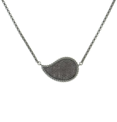 Sideways Drop Necklace Silver