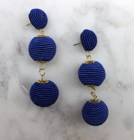 A photo of the Thread Wrap Ball Earrings product