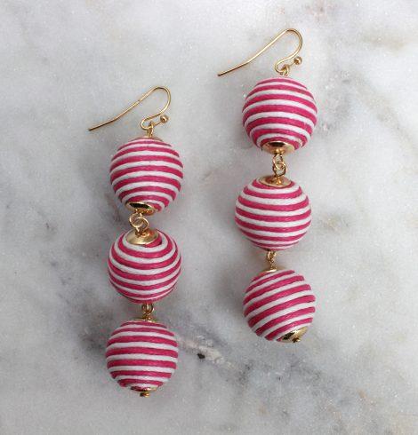 stripped_thread_wraped_ball_earrings_fuchsia