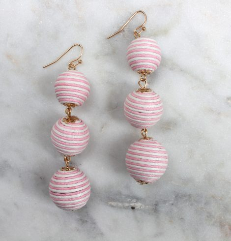 stripped_thread_wraped_ball_earrings_lightpink