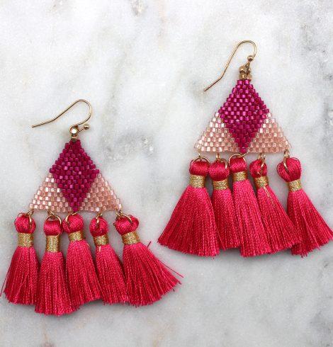 tribe_beaded_tassel_earrings_pink