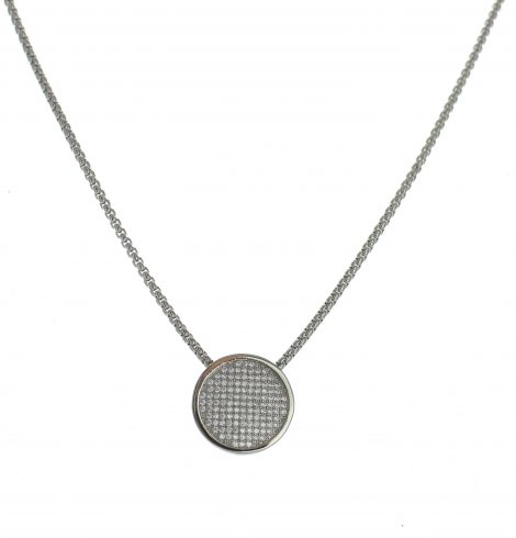 Circle Pave Pendant Necklace_Silver