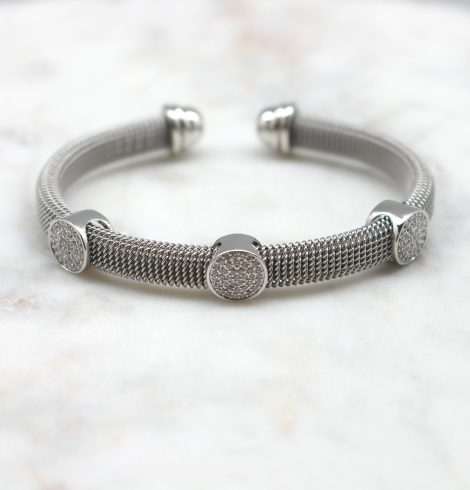 A photo of the Rhinestone Circles Cuff Bracelet product
