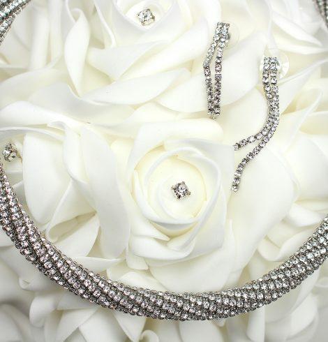 Elegant Rhinestone Necklace Silver