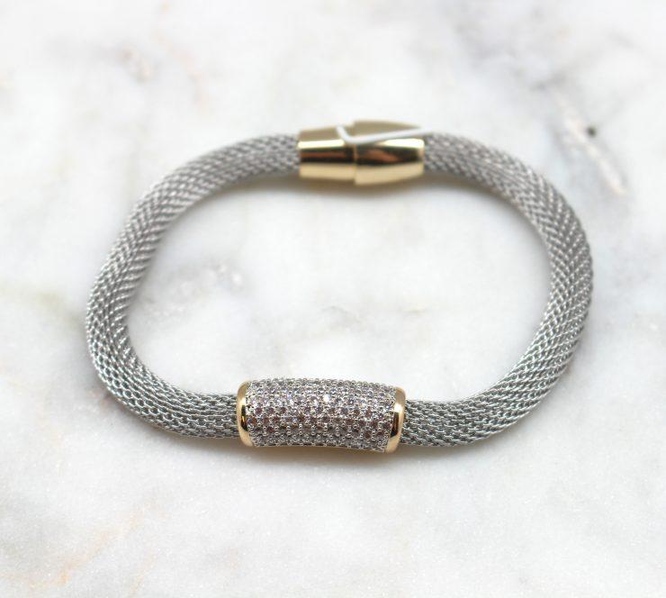 A photo of the Magnetic Rhinestone Bar Bracelet product