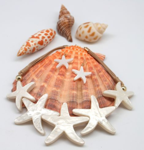 Multi Starfish Cord Statement Necklace