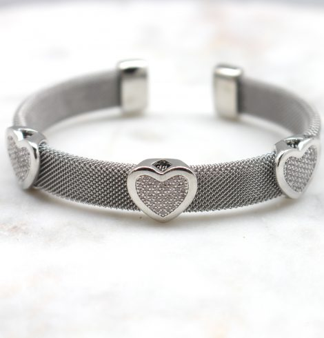 A photo of the Rhinestone Hearts Cuff Bracelet product