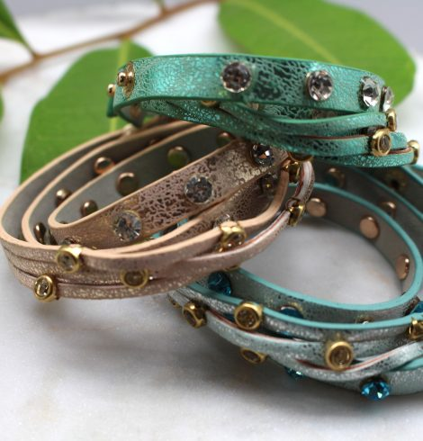Studded Rhinestone Wrap Bracelet All
