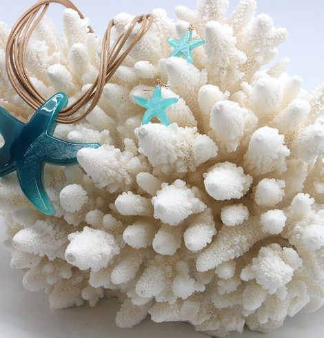 Multistrand Starfish Necklace Turquoise
