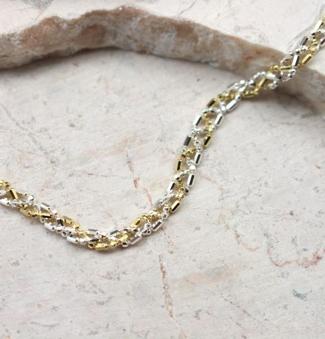 Two Toned Sterling Silver Linked Bracelet