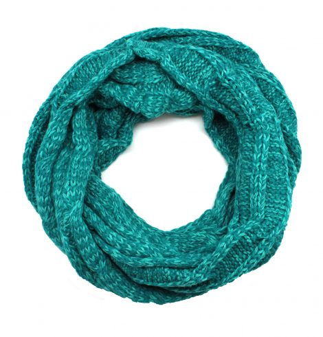 A photo of the Charming Cable Knit Infinity Turquoise product