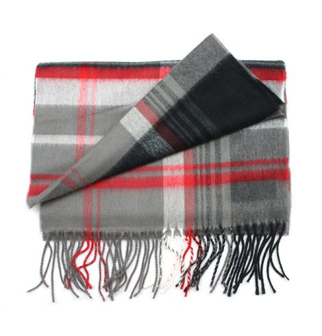 A photo of the Blue Blocks Cashmere Feel Scarf product