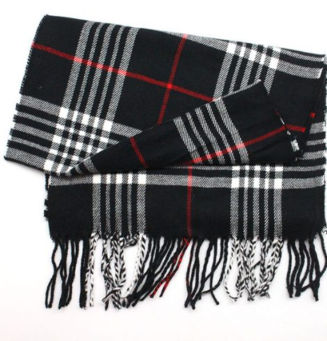 A photo of the Red Black & White Cashmere Feel Scarf product