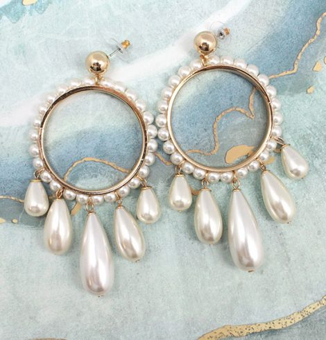 A photo of the Pearl Drops Earrings product