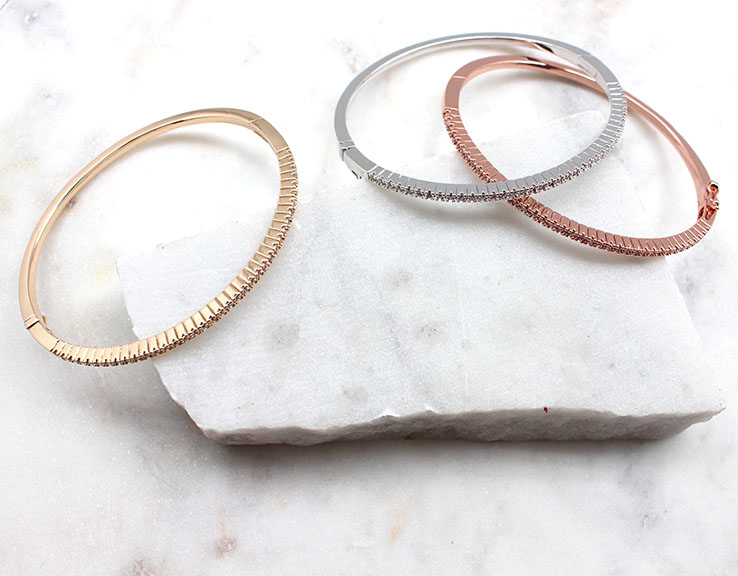 A photo of the Stainless  Steel Rhinestone Bangle product