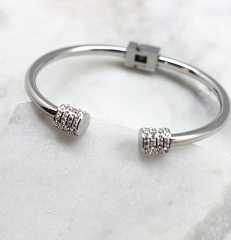 A photo of the Stainless Steel Rhinestone Ends Cuff product