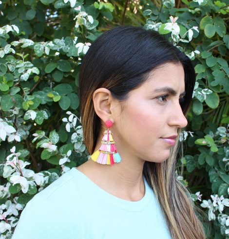 A photo of the Layered Raffia Earrings product