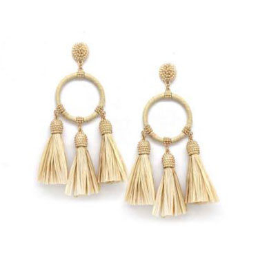 A photo of the Raffia Wrapped Hoop Earrings product