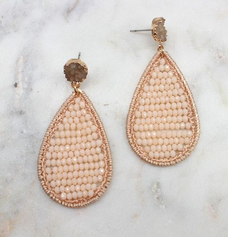 A photo of the Beaded Crochet Drop Earrings product