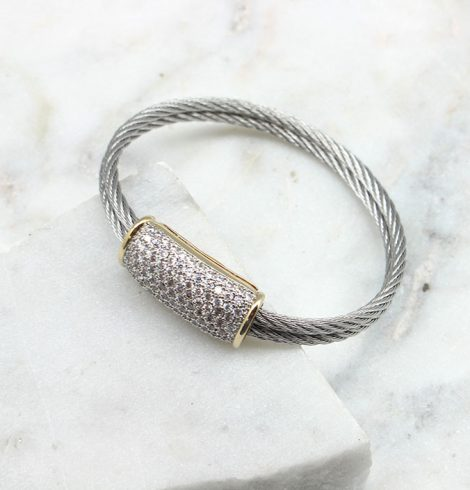 A photo of the Double Cable Rhinestone Bracelet product