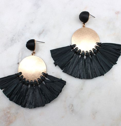 A photo of the Raffia Tassel Fan Earrings product