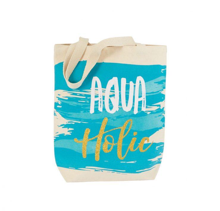 A photo of the Aqua-Holic Canvas Tote product