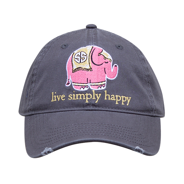 A photo of the Live Simply Happy Elephant Baseball Cap product