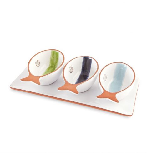 A photo of the Triple Fish Dip Cup and Tray Set product