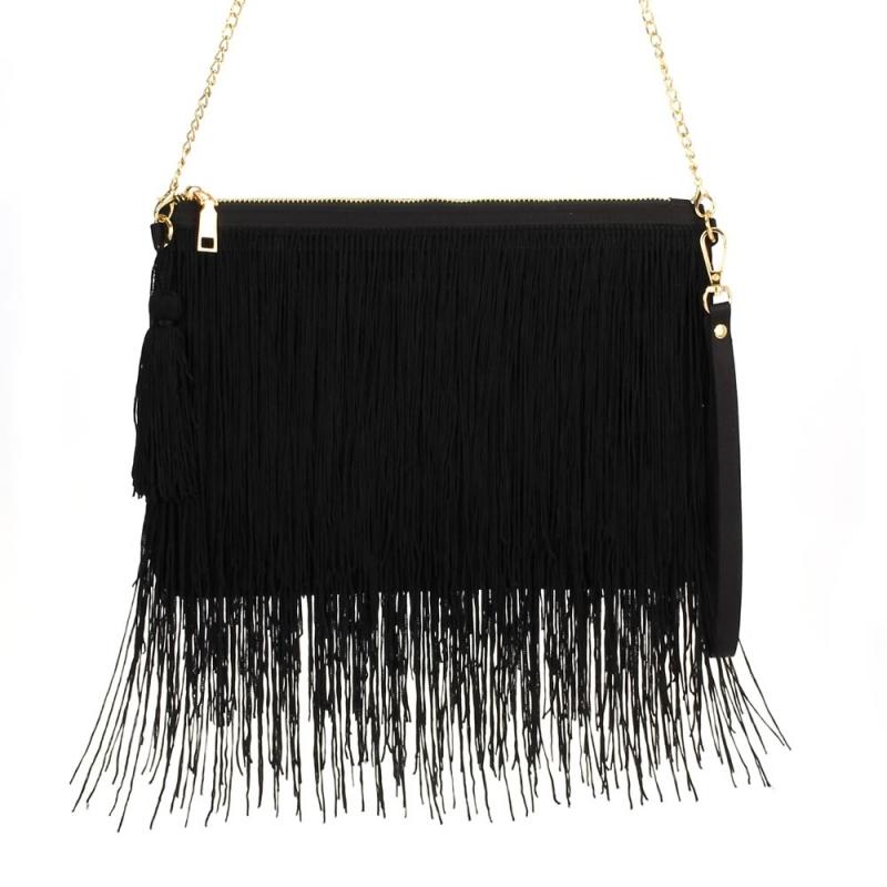 Fab Fringe Bag Black