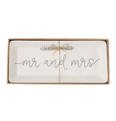 A photo of the Mr & Mrs Ceramic Hostess Tray Set product