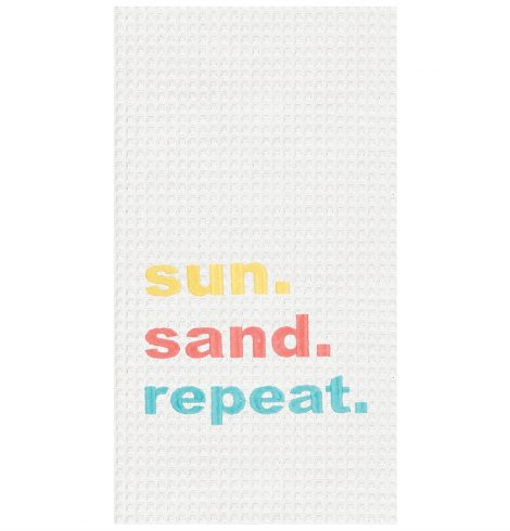 "A photo of the ""Sun. Sand. Repeat."" Kitchen Towel product"