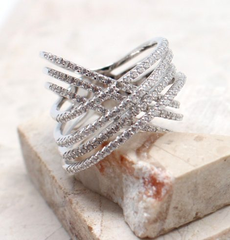 A photo of the The Silver Criss Cross Ring product