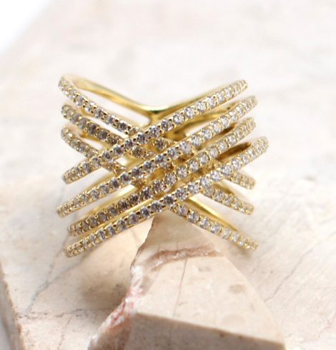 A photo of the The Gold Criss Cross Ring product