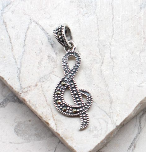 A photo of the The Marcasite Music Note Pendant product