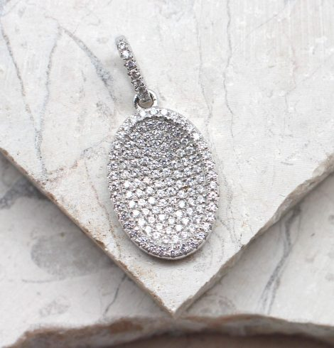 A photo of the The Pave Oval Pendant product