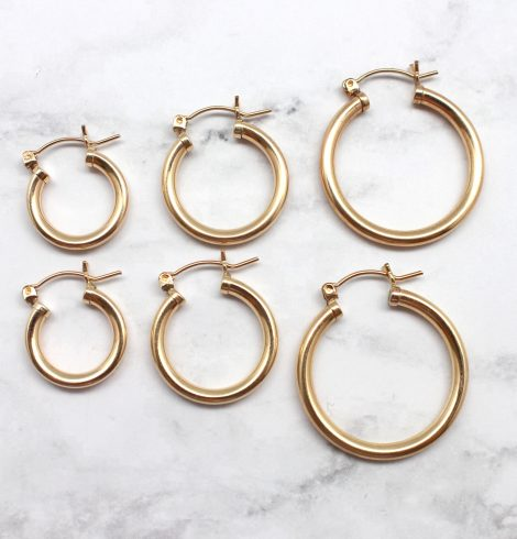 A photo of the Simple Gold Hoops product