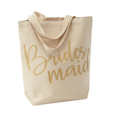 A photo of the Bridesmaid Gold Glitter Canvas Tote product