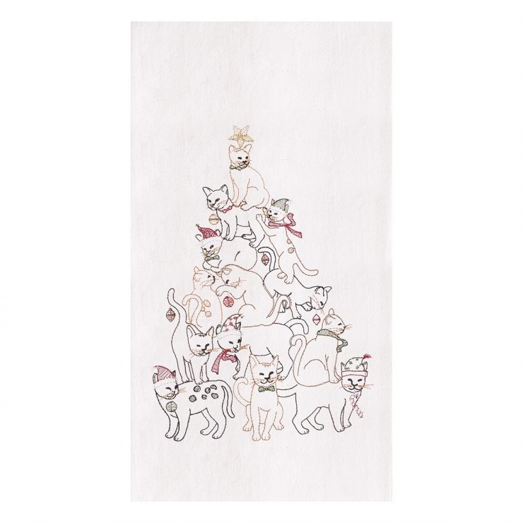 A photo of the Cat Christmas Tree Towel product