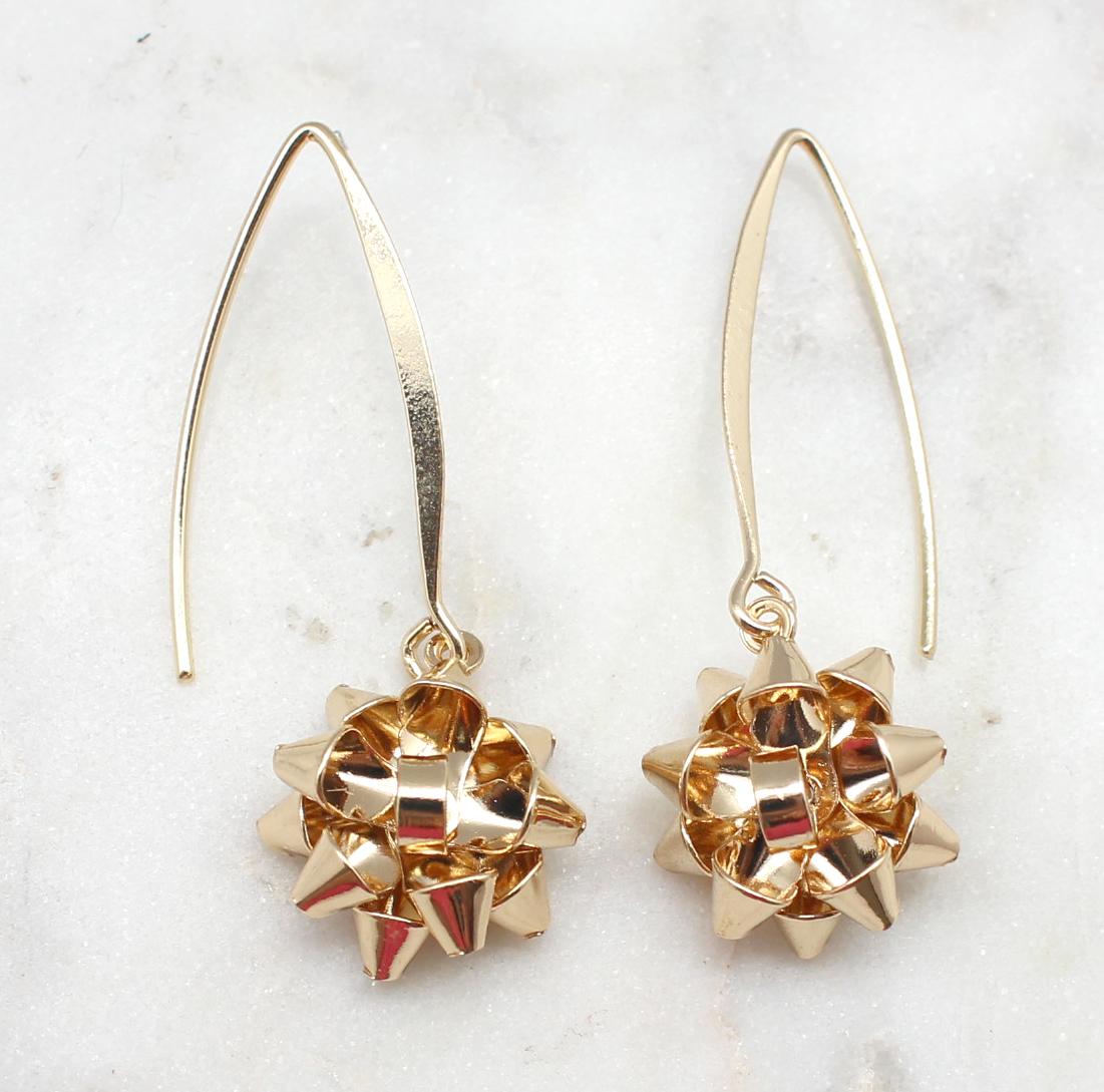 Christmas Bow Dangle Earrings - Best of Everything   Online Shopping