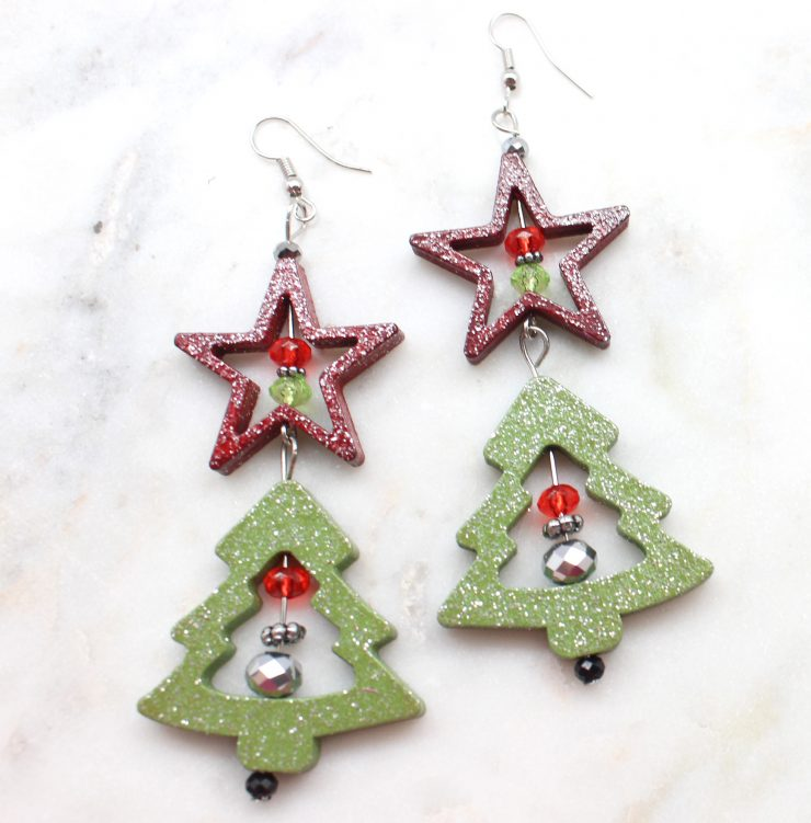 A photo of the Glittery Christmas Night Earrings product