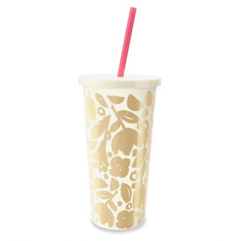 A photo of the Gold Floral Insulated Tumbler product