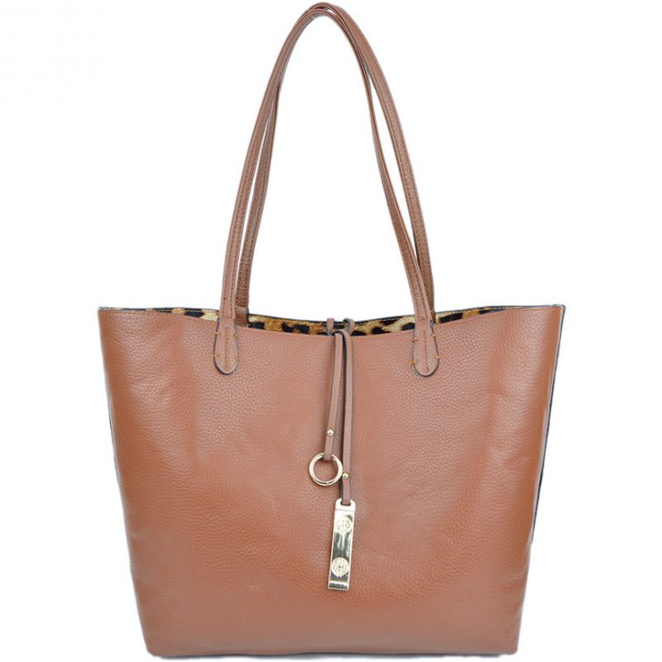A photo of the Leopard and Camel Reversible Tote product