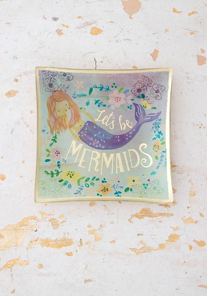 """A photo of the """"Let's Be Mermaids"""" Glass Tray product"""