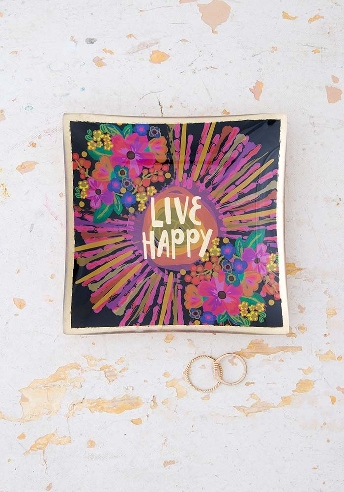 "A photo of the ""Live Happy"" Glass Tray product"