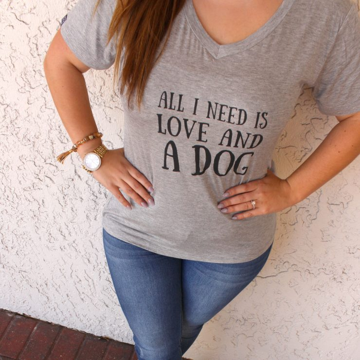 A photo of the Love & Dogs Tee Shirt product