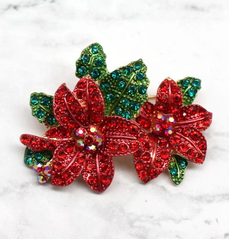 A photo of the Pretty Poinsettia Pin product